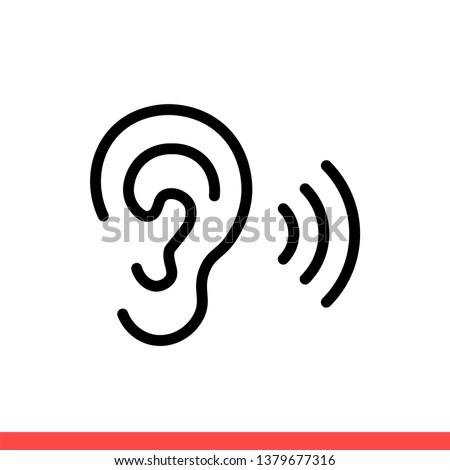 Ear vector icon, hearing symbol. Simple, flat design for web or mobile app