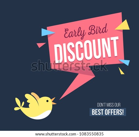Early bird discount banner with cute bird and geomethic shapes. Promotional design template on blue background with doodles. Vector illustration