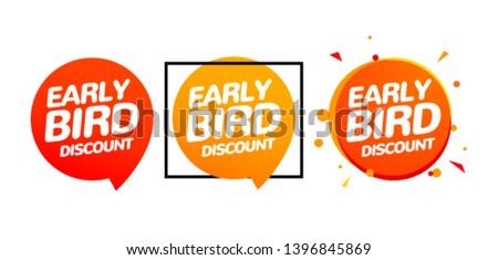 Early bird discount vector special offer sale icon set. Early bird icon cartoon promo sign banner.