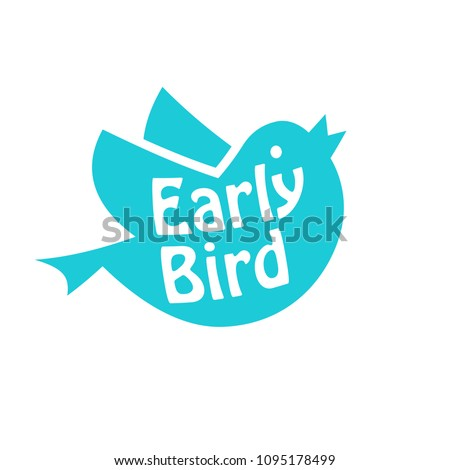 Early bird icon. Discount clipart isolated on white background