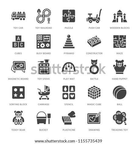 Early development baby toys flat line icons. Play mat, sorting block, busy board, toy car, kids railroad, maze illustrations. Thin signs for montessori education. Solid silhouette pixel perfect 64x64.