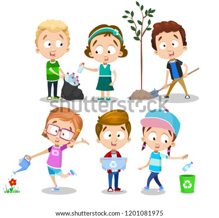 Early ecology children education set. Kids picking up plastic bottles. Boy and girl plant tree and watering flower. Waste recycling for reuse. Children clean and save environment vector illustration.