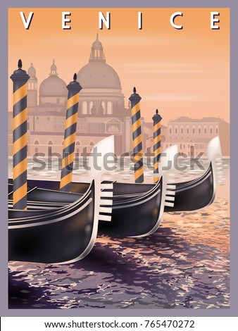 Stock Photo Early morning in Venice, Italy. Handmade drawing vector illustration.