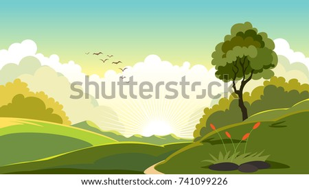 early morning scenic landscape