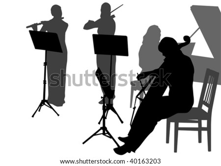 Early Music Orchestra during the concert. Silhouettes on white background