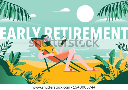 Early retirement - retired man on beach reading a book with drink in hand. Enjoying a holiday with no worries, on vacation, happy. Financial freedom.