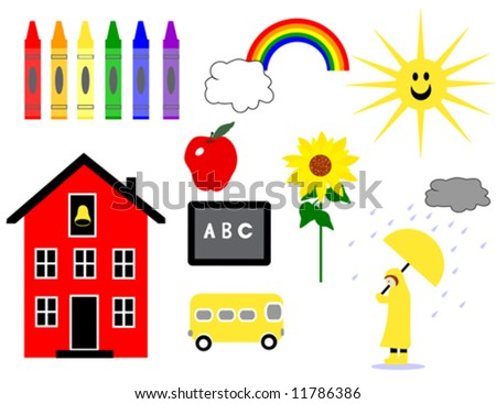 Early School Days vector is hand drawn original artwork.