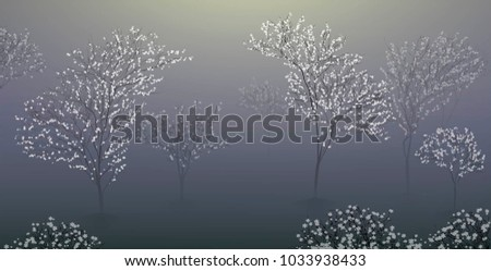 early spring morning with white