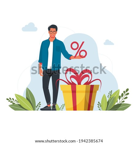 Earn loyalty program points and get online reward and gifts. People earning points, bonuses, getting gifts, discounts, cash back for shopping spending money. Online rewards, digital referral program Photo stock ©
