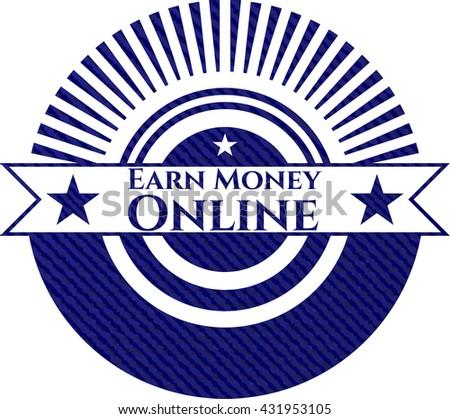 Earn Money Online badge with jean texture