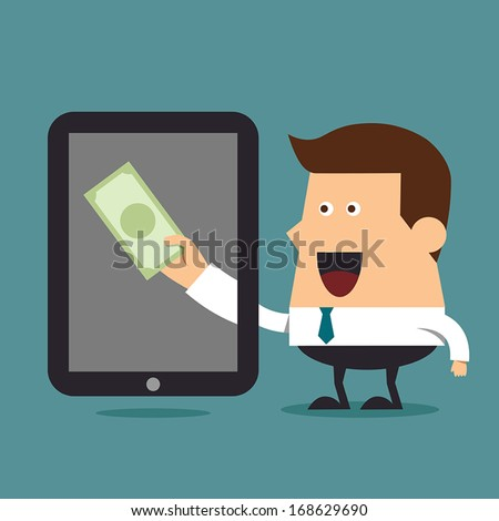 Earn money online, Business concept - stock vector