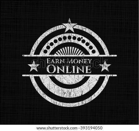 Earn Money Online chalkboard emblem on black board