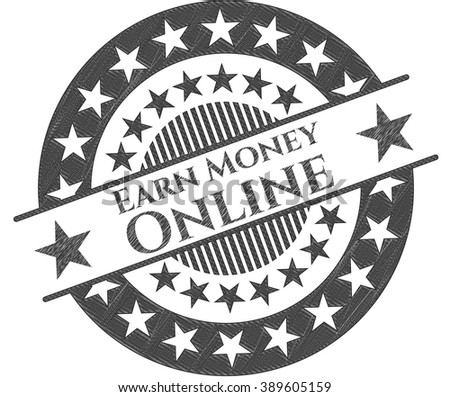 Earn Money Online emblem with pencil effect
