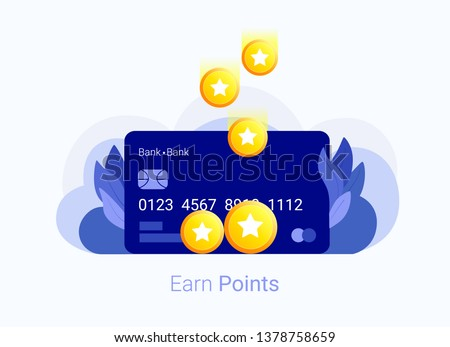 Earn points concept. Bank bonus card with reward points. Loyalty program. Trendy flat style. Vector illustration.
