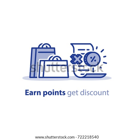 Earn points for every purchase, reward program, discount concept, shopping bags and till slip with coin, vector line icon