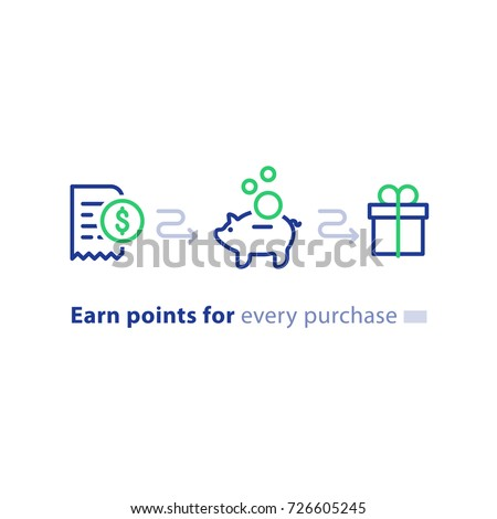 Earn points for purchase concept, loyalty program, cash back, marketing and promotion, reward gift outline, get bonus, vector line icons