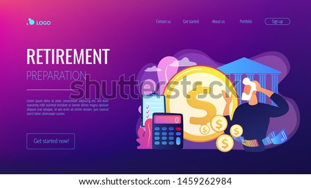 Earnings fund, budget calculating, social security. Retirement preparation, financial savings of retirees, pension saving planning concept. Website homepage landing web page template.