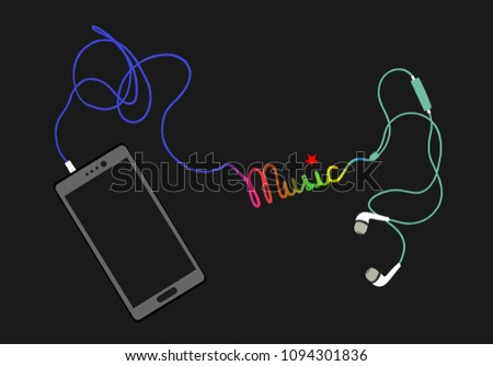 Earphone and smartphone with creative colorful music word illustration vector