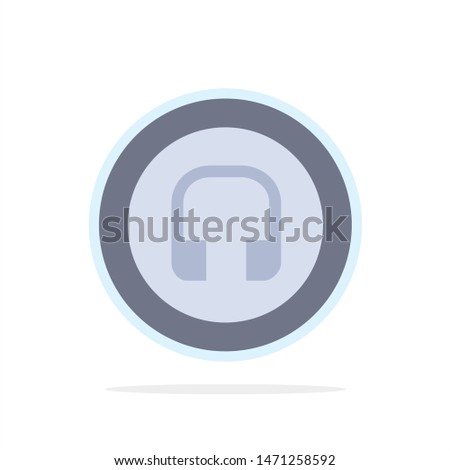 Earphone, Headphone, Basic, Ui Abstract Circle Background Flat color Icon. Vector Icon Template background