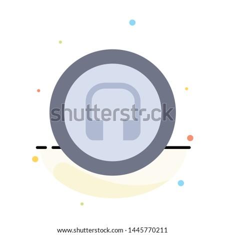 Earphone, Headphone, Basic, Ui Abstract Flat Color Icon Template