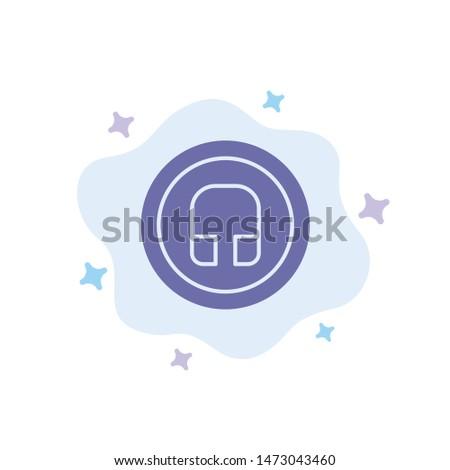 Earphone, Headphone, Basic, Ui Blue Icon on Abstract Cloud Background