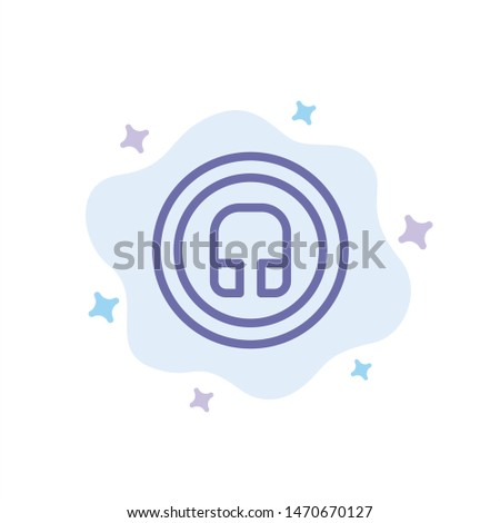 Earphone, Headphone, Basic, Ui Blue Icon on Abstract Cloud Background. Vector Icon Template background