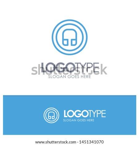 Earphone, Headphone, Basic, Ui Blue outLine Logo with place for tagline