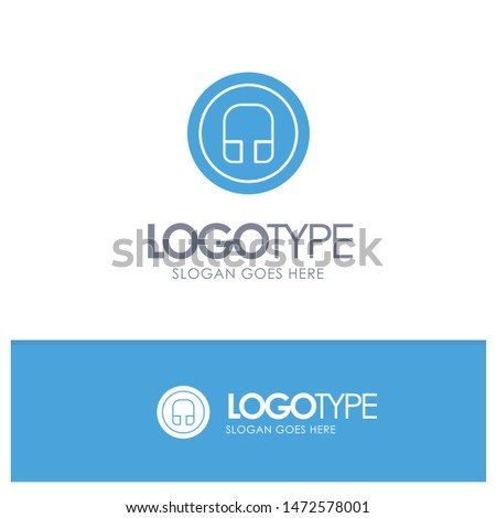 Earphone, Headphone, Basic, Ui Blue Solid Logo with place for tagline