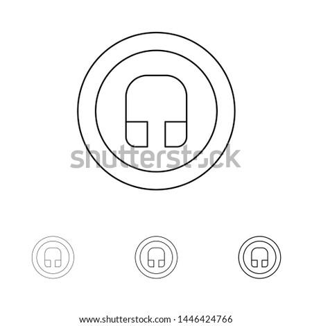 Earphone, Headphone, Basic, Ui Bold and thin black line icon set