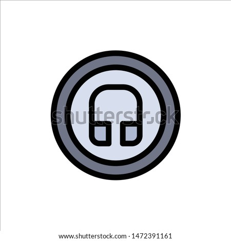 Earphone, Headphone, Basic, Ui  Flat Color Icon. Vector icon banner Template