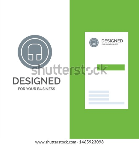 Earphone, Headphone, Basic, Ui Grey Logo Design and Business Card Template. Vector Icon Template background