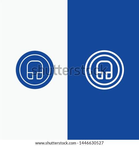Earphone, Headphone, Basic, Ui Line and Glyph Solid icon Blue banner Line and Glyph Solid icon Blue banner