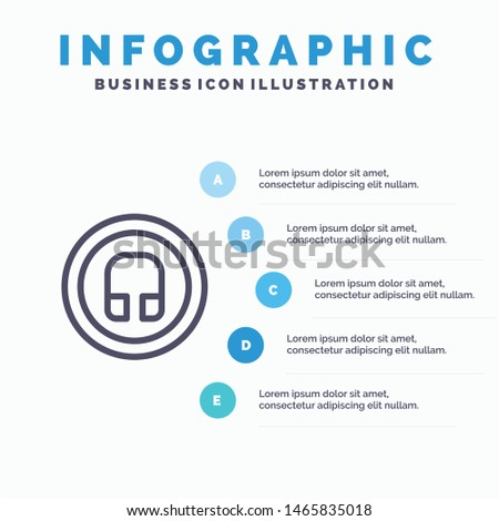 Earphone, Headphone, Basic, Ui Line icon with 5 steps presentation infographics Background. Vector Icon Template background