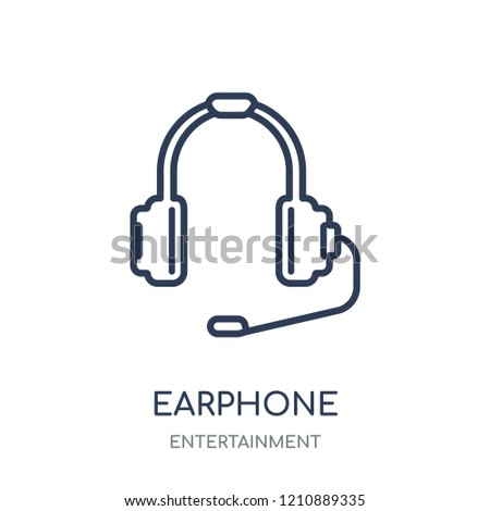 Earphone icon. Earphone linear symbol design from Entertainment collection.