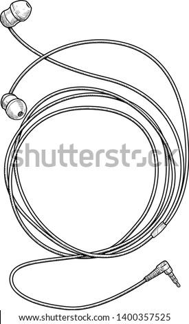 Earphone illustration, drawing, engraving, ink, line art, vector