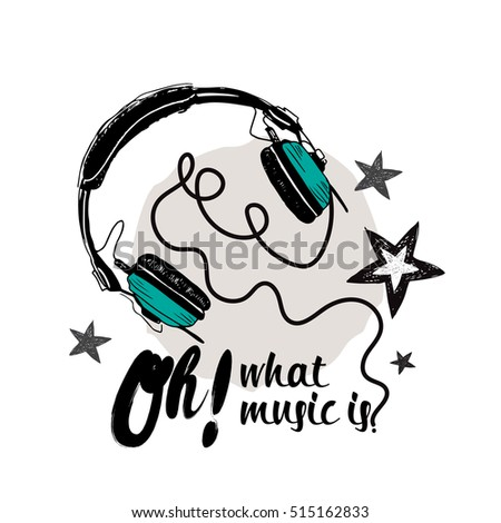 Earphones and stars illustration isolated on white background