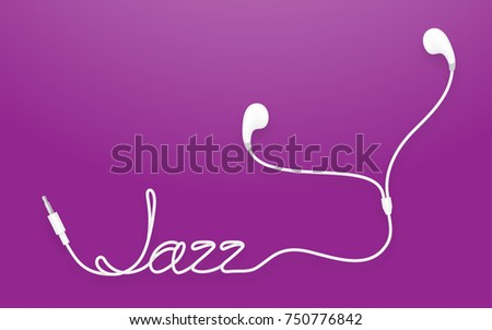 Earphones, Earbud type white color and jazz text made from cable isolated on purple gradient background, with copy space