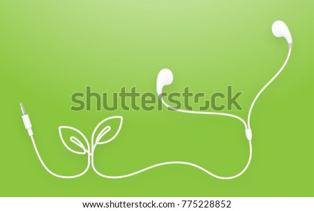 Earphones, Earbud type white color and Leaf Plant symbol made from cable isolated on green gradient background, with copy space
