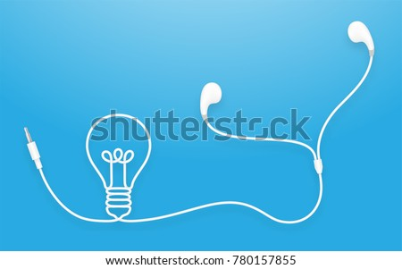 Earphones, Earbud type white color and Light Bulb symbol made from cable isolated on blue gradient background, with copy space