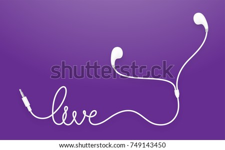 Earphones, Earbud type white color and live text made from cable isolated on violet gradient background, with copy space