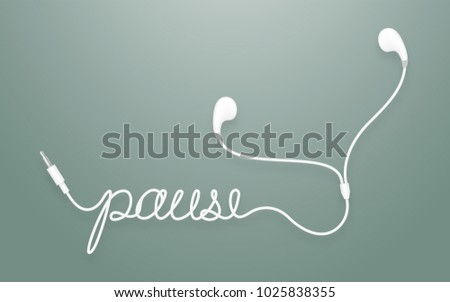 Earphones, Earbud type white color and pause text made from cable isolated on dark green gradient background, with copy space