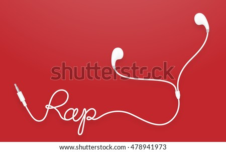 Earphones, Earbud type white color and rap text made from cable isolated on red gradient background, with copy space