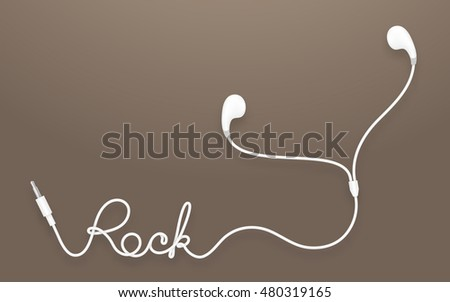 Earphones, Earbud type white color and rock text made from cable isolated on brown gradient background, with copy space