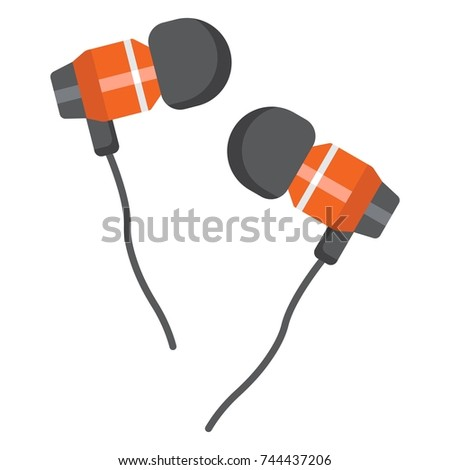 Earphones flat icon, music and instrument, audio device sign vector graphics, a colorful solid pattern on a white background, eps 10.
