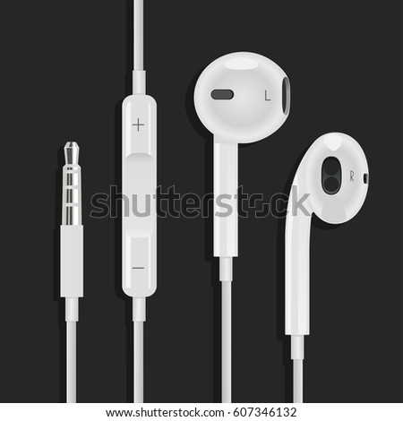 earphones for phone of white color with an entrance