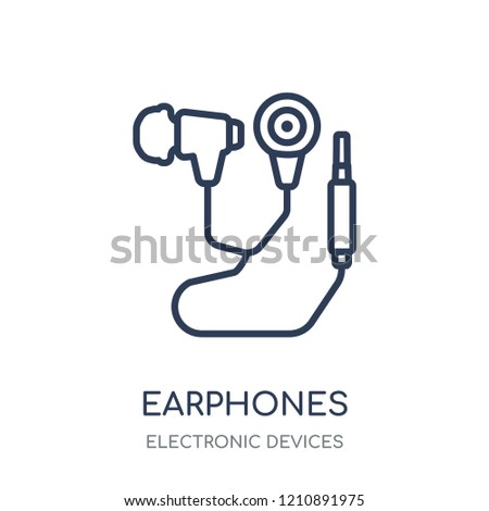 Earphones icon. Earphones linear symbol design from Electronic devices collection.