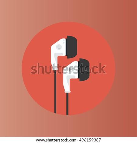 earphones icon flat design
