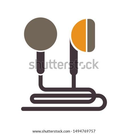 earphones icon. flat illustration of earphones - vector icon. earphones sign symbol