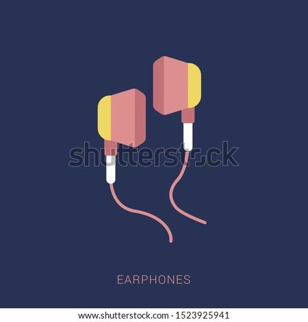 Earphones icon vector. earphones vector graphic illustration. Minimal flat icon