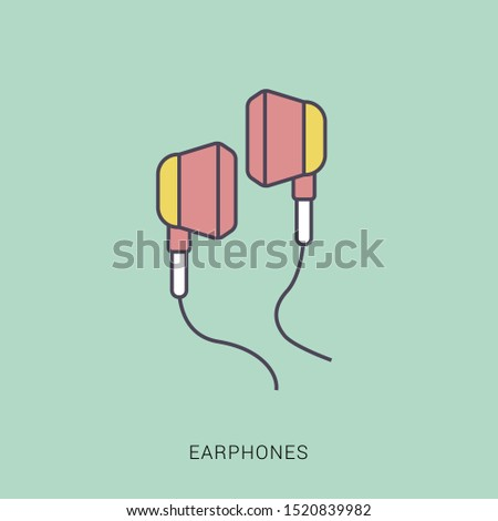 Earphones icon vector. earphones vector graphic illustration. solid color with outline concept.